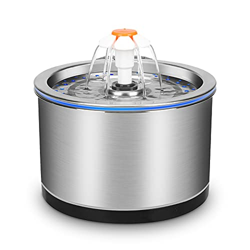 Cat Water Fountain Stainless Steel, 2.5L/84 oz Pet...