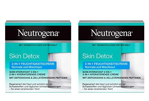 Neutrogena Skin Detox 2-in-1 Feuchtigkeitscreme, regenerierende und schützende Feuchtigkeitscreme mit Antioxidans für das Gesicht (2 x 50 ml)