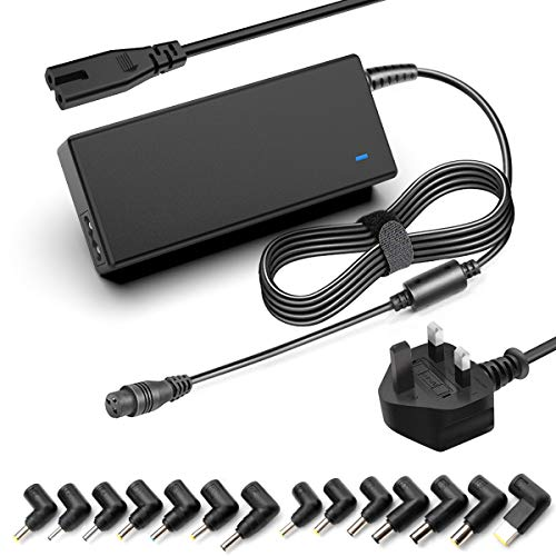 Rocketek 90W Universal Laptop Charger UK Plug Power Supply 15V 16V 18.5V 19V 19.5V 20V Power Adapter Power Cord Replacement, Suitable for HP Dell Toshiba IBM Lenovo Acer Asus Samsung Sony
