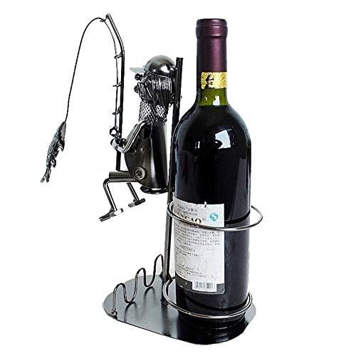 CAIJINJIN Estatua Muebles Decoración, Iron & Wine Marco de las decoraciones, Pesca Vino Estilo Bastidores, Productos artesanales de metal escultura de vino titular de la botella de vino Contenedores D
