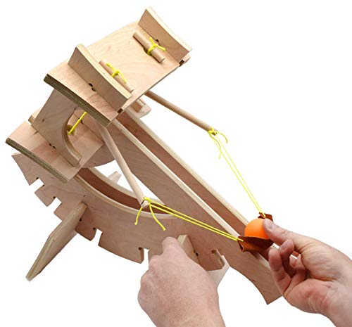Ballista Catapult Kit - Build Your Own - Explore Torsion Springs, Force, Energy Transformation, Mechanical Advantage, and Projectile Motion - No Tools Required - Garage Physics by Eisco