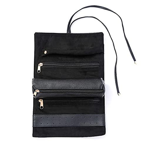 Aoten Organizador de joyas enrollable para anillos, collar de cuello, pulsera, multiusos, plegable, bolsa de almacenamiento para joyas, accesorios de viaje