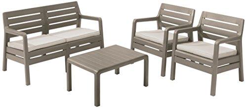 Keter Delano Allibert Sitzmöbel, 2-Sitzer, Möbel für den Außenbereich und Garten, Cappuccinofarben mit sandfarbenen Kissen