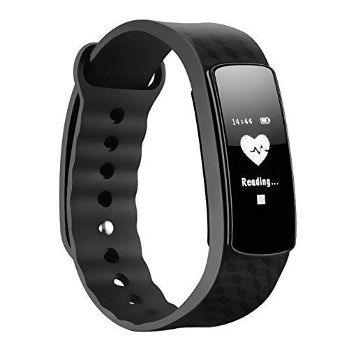 MPOW Herzfrequenz Fitnessarmband,Mpow Fitness Tracker mit Pulsmesser Bluetooth 4.0 Smart-Herzfrequenz Monitor Armband Schrittzähler Schlafanalyse für Android und iOS Smart Phones, Schwarz