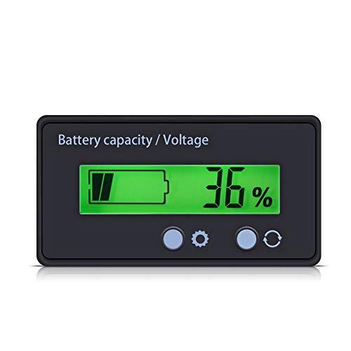 Pusokei Batteriezähler, Batteriekapazität Spannungsmesser Monitoranzeige Anzeige mit Anschlusskabelhalter 12-48V Batterie