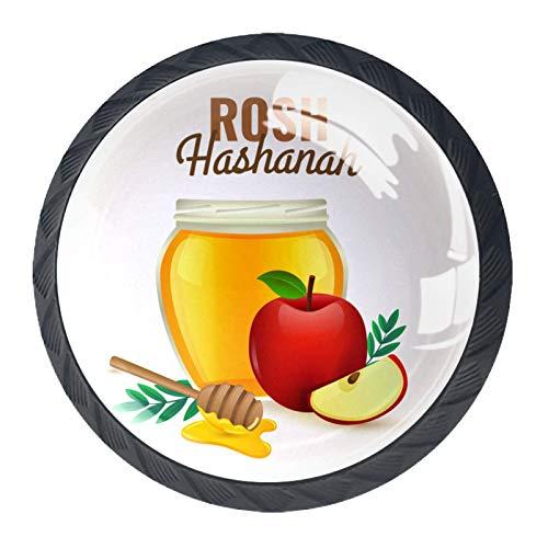 4 tiradores de cocina para armarios de cocina, cajones, tiradores con tornillos para cocina, aparador, armario, baño, armario, armario, manzanas Rosh Hashanah y miel