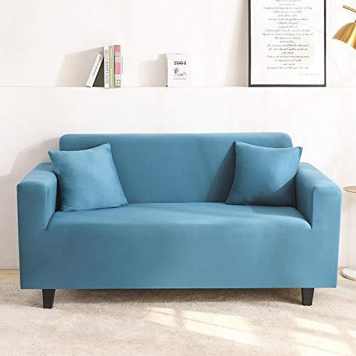 B/H 3 Plaza Funda de Sofá Elástico Cubierta,Funda de sofá de Color Liso, Funda de sofá Universal Antideslizante-Azul B_235-300cm,Funda sofá Duplex