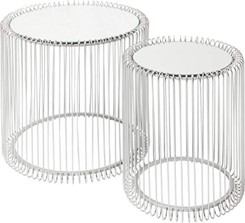 Karebijzettafel Wire Glas Marble Bijzettafel 2er Set zilver