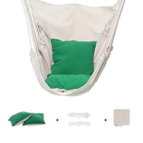 Hamaca de Asiento Suspendido, Hamaca Sillon Colgante para Jardín, Interior, Exterior, Salón o Patio, 150kg de Capacidad (Color : Green)