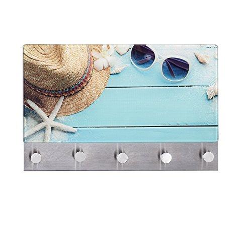 Wenko 50413100 Hakenleiste Beach - 5 Haken, magnetisch, Gehärtetes Glas, 19 x 30 cm, mehrfarbig