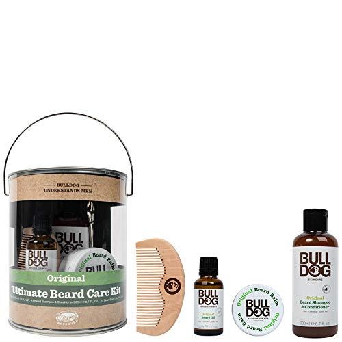 Bulldog - Kit de cuidado de barba para hombre con bálsamo para barba, champú y acondicionador para barba, aceite para barba, peine y tijeras para barba