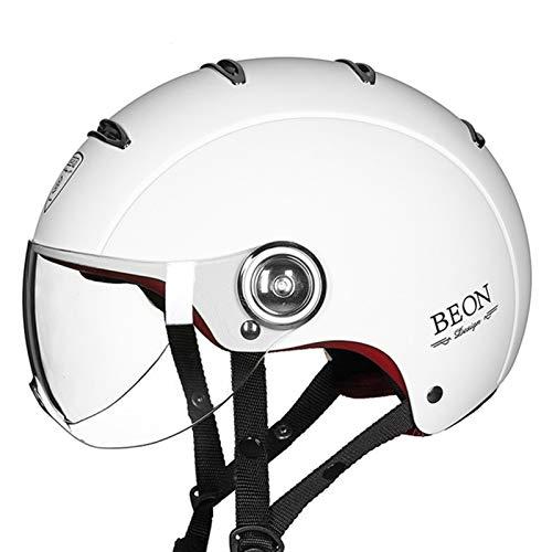 Casco De Moto Retro Casco Jet Motocicleta Casco Half-Helmet Casco Moto Abierto Casco Moto Jet Medio Casco con Gafas ECE Homologado Protección Cascos para Hombres y Mujeres I,M