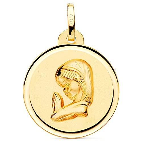 Medalla oro 18k Virgen Niña 20mm. rezando relieve lisa detalle cerco - Personalizable - GRABACIÓN INCLUIDA EN EL PRECIO