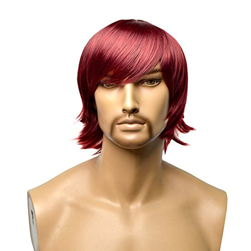 GOOACTION Mens Short Slightly Curly Layered Wine Red Hair Wig with Bangs for Male Synthetic Heat Resistant Halloween Cosplay Fashion Replacement Wigs