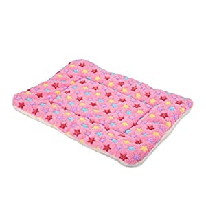 SEKAYISORE Double-Sided Flannel Pet Sleep Mat, Super Soft Dog and Cat Bed Mat with Three-Dimensional Prints, Machine Washable Dog Crate Kennel Pad, Pink XL