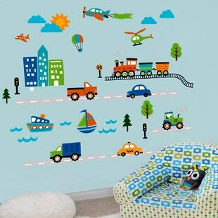 Planes Trains and Things That Go! Sticker mural pour chambre d'enfant Dimensions (H x l x P) 28 x 46 cm