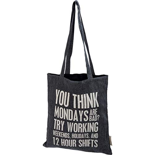 Primitives by Kathy Canvas Tote Bag, 14-inch L x 12-inch W x 15.50-inch H, White, Black