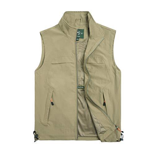 Aoogo Herren Outdoor-Freizeitangeln Weste Stehkragen Multi-Bag atmungsaktiv Bergsteigen Fotografie schnell trocknende Weste Weste