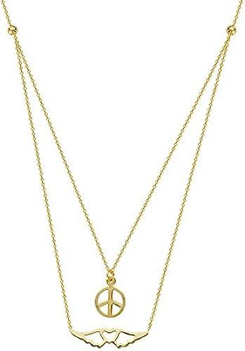 14  Gelb Gold Duo side-ways Peaceful Journey verstellbar Halskette Spitze 46cm
