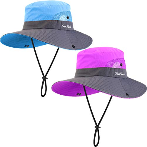 Geyoga 2 Pack Sun UV Protection Hat Mesh Wide Brim Sun Hat Outdoor Foldable Beach Hiking Fishing Summer Hat 56-58 cm (Purple and Blue)