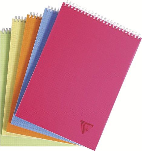 Clairefontaine 22903203 - Libreta escolar cuadriculada (espiral en la parte superior, A4, 80 hojas), 1 unidad, colores surtidos