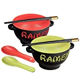 Toysdone Japanese Ceramic Ramen Bowl Set of 2 Noodle Bowl with Soup Spoon and Chopstick Soup Bowls for Noodle, Ramen, Udon, Miso, Thai, Pho Soup 17.5 Ounce Red Dragon and Green Rooster