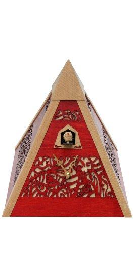 Rombach & Haas Moderne Kuckucksuhr Ornamente Zeit der Pyramide rot Quarzwerk 25 cm