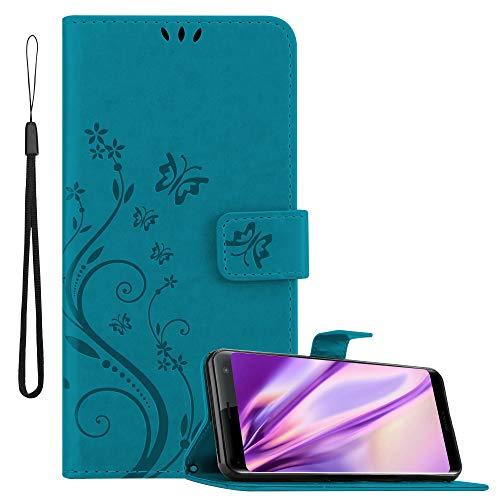 Cadorabo Hülle für Sony Xperia Xz3 in FLORAL BLAU – Handyhülle im Blumen Design mit Magnetverschluss, Standfunktion & 3 Kartenfächern – Hülle Cover Schutzhülle Etui Tasche Book Klapp Style