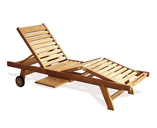 Teako Design Gartenliege Enna Teak unbeandeltes Massivholz Wetterfest verstellbare Sitz- und Liegeposition Sonnenliege