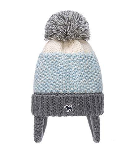 HorBous Invierno niño Sombreros tricotar Dobladillo con Pom Pom con Earflap niño Sombrero Caliente