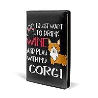 文庫本カバー ブックカバー ワインを飲みたいだけ 犬柄 英字 ノートカバー A5 革 Puレザー スケジュール帳 手帳 メモ帳 カバー 雑貨 おしゃれ プレゼント プリント 可愛い メンズ レディース