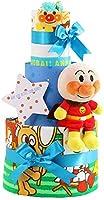 オムツケーキ 出産祝い セガトイズ アンパンマン 名入れ刺繍 3段 おむつケーキ ぬいぐるみ (goonテープタイプLサイズ, 男の子向け(ブルー系))