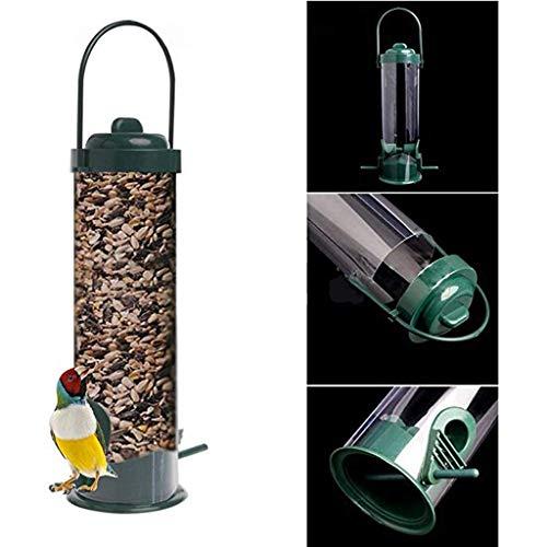 Rameng Mangeoire pour Les Oiseaux avec Couvercle Distributeur de Graines pour Oiseaux Mangeoire Sauvage pour Jardin