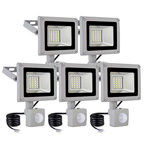 BAM - Store Luz al Aire Libre de inundación del LED, 20W lámpara del jardín Seguridad Partidos 1600LM 6500K Luces frías con Sensor PIR, IP65 a Prueba de Agua reflectores de Trabajo,5 Pack