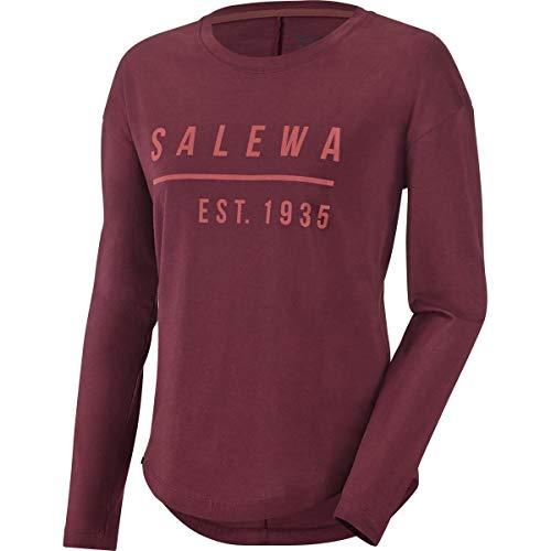 Salewa Besom Co W L/S Tee - T-Shirt à Manches Longues pour Femme, Couleur Rouge, Taille 42/36