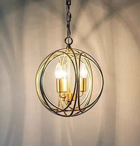 TIANYOU Colgante Light Chandelier Vintage Retro Dormitorios Creativos Oro 30 * 34 cm Decoración Del Restaurante durable