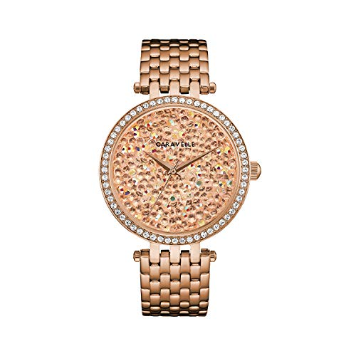 Caravelle Designed by Bulova Women's Quartz Watch with Stainless-Steel Strap, Rose Gold, 18 (Model: 44L236)