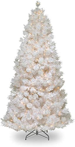 National Tree Company lit Artificial Christmas Tree Includes Pre-strung Velvet Frost White Lights with Silver Glitter and Stand, Wispy Willow Grande Slim-7.5 ft, 47X47X90