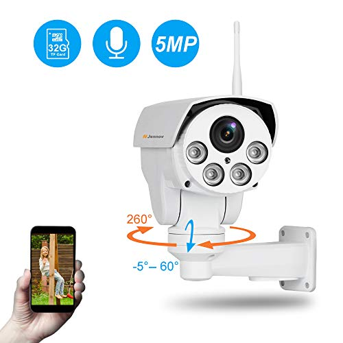 Jennov 5MP PTZ IP Kamera Ultra HD Überwachungskamera 260° schwenkbar 60° neigbar 4X Fach optischem Zoom H.264++ IP66 wasserdicht mit Einweg-Audio Mikrofon Bewegungserkennung 32G Karte APP Fernzugriff…