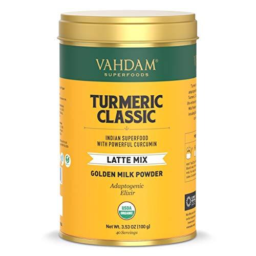 VAHDAM, BIO Kurkuma Classic Latte, 40 Tassen (100g) | Goldene Milch Pulver mit kräftigem Curcumin | Kurkuma Latte | Golden Milk | Heiß brauen oder Icedgm