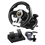 PXN V3III PC Steering Wheel 180 Degree Universal USB Car Racing Game Racing Wheel with Pedals for PS3, PS4, Xbox One,Xbox Series X/S,Nintendo Switch Black(Used - Like New)