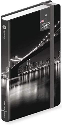 KAOS. DIARIO Click Ponte di Broklyn New York luci 12 Mesi Dim. 16,5 x 11 x 2 cm. + Omaggio portachiave Fischietto + Omaggio Penna Colorata + Segnalibro