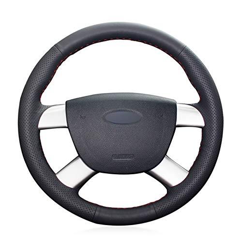 WANGXI Envoltura de Cubierta de Volante de Coche cosidos a Mano,Ford Kuga 2008-2011 Focus 2 2005-2011 C-MAX 2007-2010,Protector de Cuero de Microfibra