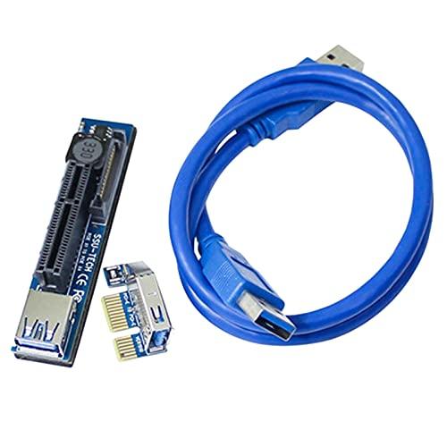Mogzank Agregue en Tarjeta PCI-E Elevador PCIE PCI-Express X1 una X4 Elevador Adaptador de ExtensióN de Tarjeta Elevadora PCI e con Cable de ExtensióN USB3.0 de 30CM