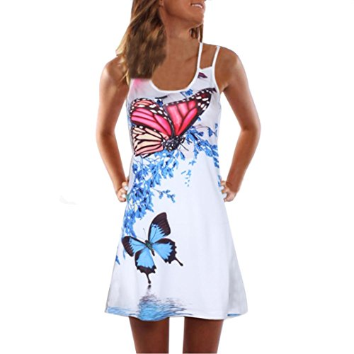 VEMOW Sommer Elegante Damen Frauen Lose Vintage Sleeveless 3D Blumendruck Bohe Casual Täglichen Party Strand Urlaub Tank Short Mini Kleid(Weiß 7, 40 DE/L CN)
