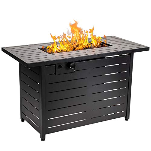 AMKV Propane Fire Pit Table, 42 Inch 60,000 BTU Rectangular Gas Fire Pit Table w/Waterproof Cover, Outdoor Fire Pit Table w/Electronic Ignition Lava Rock for Courtyard Balcony Garden Terrace