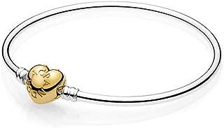 Moments Silver Charm Bangle Bracelet Shine 18k Gold Plated Logo Heart Clasp