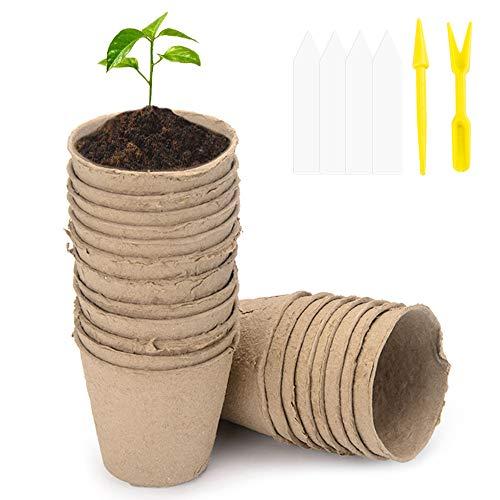 100 Pcs Seed Pots Biodegradable Fibre Pots Seed Seedling Pots Plant Pot 8cm with 100 Pcs Plastic Plant Lables, 2 Pcs Transplanting Digging Tools