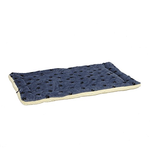 Reversible Paw Print Pet Bed in Blue / White, Dog Bed Measures 52L x 34W x 3.8H for Giant Breed Dogs, Machine Wash