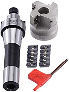 Yadianna 400R 50MM Milling CNC Face End Mill Cutter Kit + 10Pcs APMT1604 Carbide Inserts + R8 Shank Arbor for Power Machine Tool